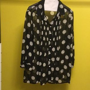 Chelsea & Theodore navy dot 3/4 sleeve blouse